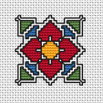 Beautiful miniature pattern of a decorative red flower.The chart contains full and back stitches.Use 2 threads for the back stitches