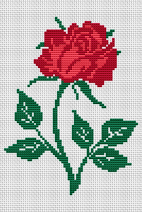 The rose has always carried a deep symbolic meaning and has been a favorite of many people.Use this pattern of a single red rose to send a message of love.