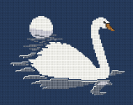 The beautiful bird white swan is symbolic of cleansing and purifying ourselves and our lives.Stitch the pattern on dark blue fabric using 2 strands of thread for the back stitches.