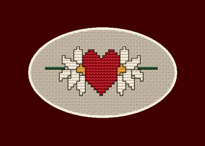 A flower cannot blossom without sunshine, and man cannot live without love.  Oval card cross stitch pattern for Valentine's Day with two flowers and a red heart - the symbol of love.