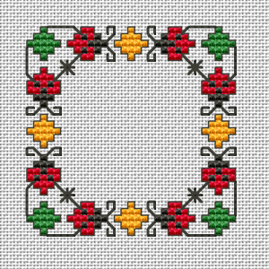 Small design with stylized ladybugs - symbols of happiness, and good luck.The chart contains full stitches ,back stitches with 1 and 2 strands and few Smyrna stitches.