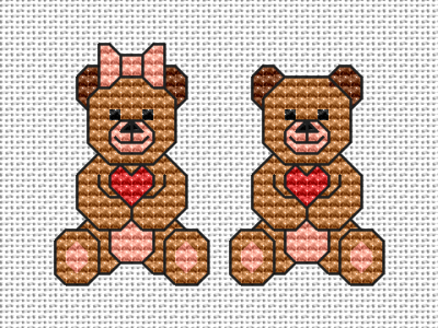 Small design of cute teddy bears - a girl and a boy - holding hearts.Suitable for Valentine's Day cards.