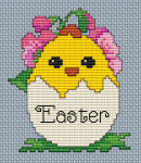 The pattern  contains an cute Easter chick and the text Easter.