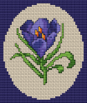 Small design of a purple crocus - one of the first flowers to emerge in the spring.