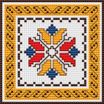 Floral motif and border inspired by the traditional Bulgarian embroidery.