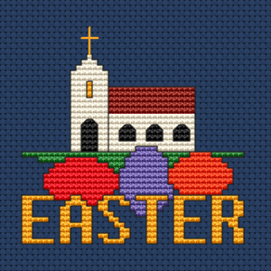 A church and Easter eggs to remember that Easter is about Jesus Christ - the Savior of the world.