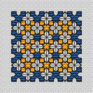 Small geometric motif in blue and yellow colors.1 and 2 strands of thread for the backstitch.
