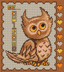 "Cross stitch pattern of a little cute owl telling to us a funny quote.The text is ""Be owlsome""."