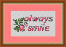 "A cross stitch design reminding us to smile! ""Share your smile with the world. It's a symbol of friendship and peace."""