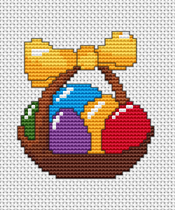Traditional Easter basket with a yellow ribbon and colorful eggs. This is a great, free pattern for personalized greeting cards and other Easter projects.