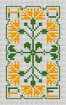 The other word for Spring is Hope. Simple and easy-to-stitch floral design in green and yellow.