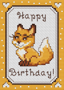 "Cross stitch pattern of a cute baby fox with the text:""Happy Birthday"". Suitable for greeting cards and other projects for animals lovers."