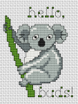 Cross stitch pattern of a cute koala - one of the beloved icons of the Australian wildlife!