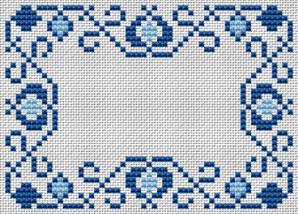 Small floral border in blue for beginners.Contains two shades of blue