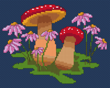 Mushrooms and flowers cross stitch pattern designed for 14 ct Navy Blue Aida.