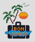 "It's summer and time for traveling...A cross stitch pattern with the text:"" Bon Voyage"" to celebrate the summer,sea, sun  and vacations."