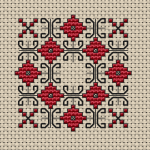 Small motif in red and black suitable for biscornu making.Use 1 and 2 strand of thread for the backstitches.