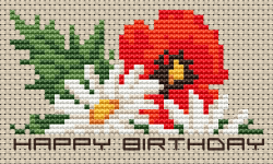 Birthday Flowers (daisy and poppy) cross stitch pattern with the text Happy Birthday.