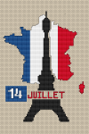 A cross stitch pattern devoted to July 14 - the national holiday of the French Republic.