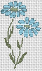 Decorative blue flowers.An easy to do cross stitch design suitable for beginners.