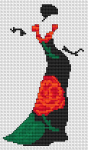 Silhouette of a vintage woman with an elegant black dress with flowers.The cross stitch pattern contains full and back stitches.