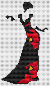 A beautiful silhouette of a vintage woman with an elegant black dress with flowers(poppies).The cross stitch pattern contains full and back stitches.