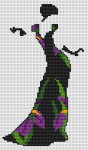 A beautiful silhouette of a vintage woman with an elegant black dress with flowers(iris).The cross stitch pattern contains full and back stitches.
