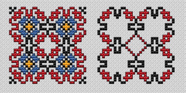 Cross stitch pattern of a biscornu with four colors (face and back side), using a Bulgarian embroidery motif. It can also be used for making cards and other small ethnic souvenirs.