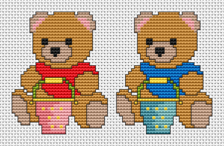 A set of two  cross stitch patterns for kids.Cute teddies (boy and girl) with buckets  playing with sand on the beach.These bears are very similar to me from the distant childhood. The pattern is easy to do and suitable for cards,bibs,framed stitched gifts and other cross stitch projects.