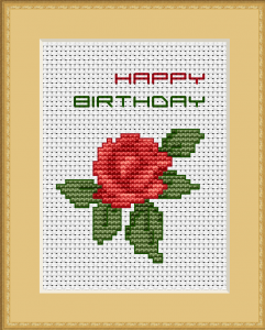 Beautiful birthday card with an elegant red rose and best wishes.