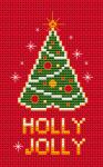 Holly Jolly Christmas cross stitch pattern designed for 14 ct red fabric.A richly decorated Christmas tree in anticipation of the Christmas night.For other fabrics stitch the background using 666 DMC threat.