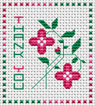 Miniature floral cross stitch card with the text Thank You.The pattern contains full stitches, 3/4 stitches and back stitches.
