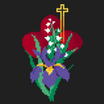 Easter cross stitch scheme involving the Cross,traditional red eggs and flowers.
