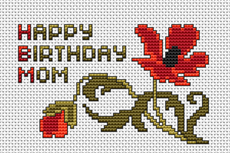 Beautiful birthday cross stitch card pattern with a poppy flower and the text:Happy Birthday Mom.
