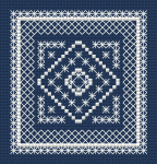 A monochrome cross stitch pattern for those who like backstitch. Suitable for biscornu making and other craft projects.