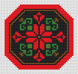 Small geometric design of a red stylized flower,polygonal red frame and black background.
