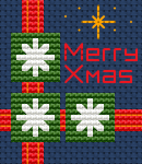 Small Christmas card/tag cross stitch pattern for 14 ct  dark blue fabric and the text:Merry Christmas.The chart contains full stitches,backstitch,3/4 stitches and few French Knots.