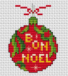 "Red Christmas decoration cross stitch pattern  with the text: ""Bon Noel"". Could be translated from French to ""Good Christmas"" or ""Merry Christmas""."