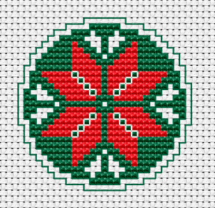 A small cross stitch pattern for various Christmas projects, such as: cards,tags, Christmas tree ornaments, small tablecloths and more.