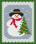 Christmas or New Year's Eve  cross stitch card with the childhood favorite character -happy Frosty waiting for cheerful holidays.