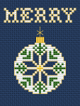 Small Christmas card cross stitch pattern for dark blue or red Aida with the text:MERRY.The chart is suitable for ornaments making also.