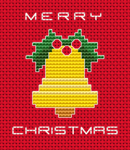 Little Mister Jingle Bell cross stitch pattern for red Aida.Use 2 strands of thread for the text Merry Christmas and 1 strand for the backstitch.