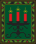 Candlestick with red Christmas candles and border.The pattern is designed for a green cloth, but it also looks good on dark blue.