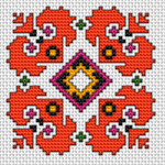 Traditional Bulgarian embroidery.A colorful motif pattern for biscornu making.