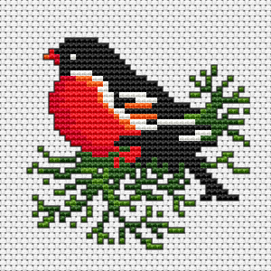 A beautiful bird on a green branch free cross stitch pattern.The chart is also suitable for making greeting cards and other small cross stitch projects.