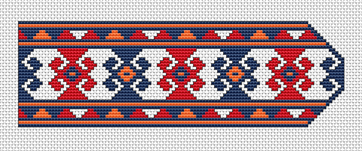 A motif from the old Bulgarian folklore embroidery.Bookmark cross stitch pattern with geometric shapes and а border.