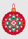 Beautiful Christmas decoration cross stitch pattern. Thrее colors are used for the back stitches - red,yellow and white.