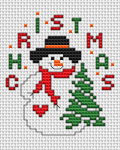 Cute snowman holding a Christmas tree and waiting for Christmas to come.