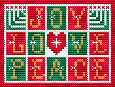 Christmas card free cross stitch pattern.May this Christmas brings you love, joy and peace!