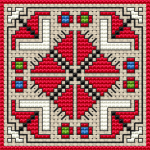 Bulgarian folk motif cross stitch pattern.Suitable for biscornu making.